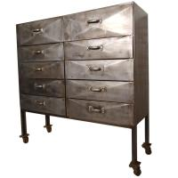 Unique Industrial Ten-Drawer Metal Cabinet For Sale at 1stdibs