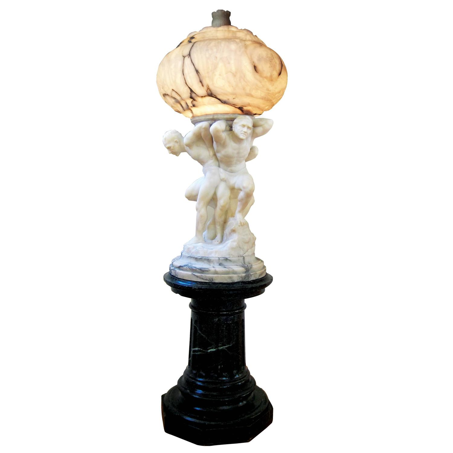 Atlas Statues For Sale Massive Atlas Marble And Gray Veined Alabaster Light For