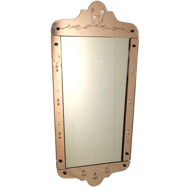 Mirror with wooden frame colored decorated glass