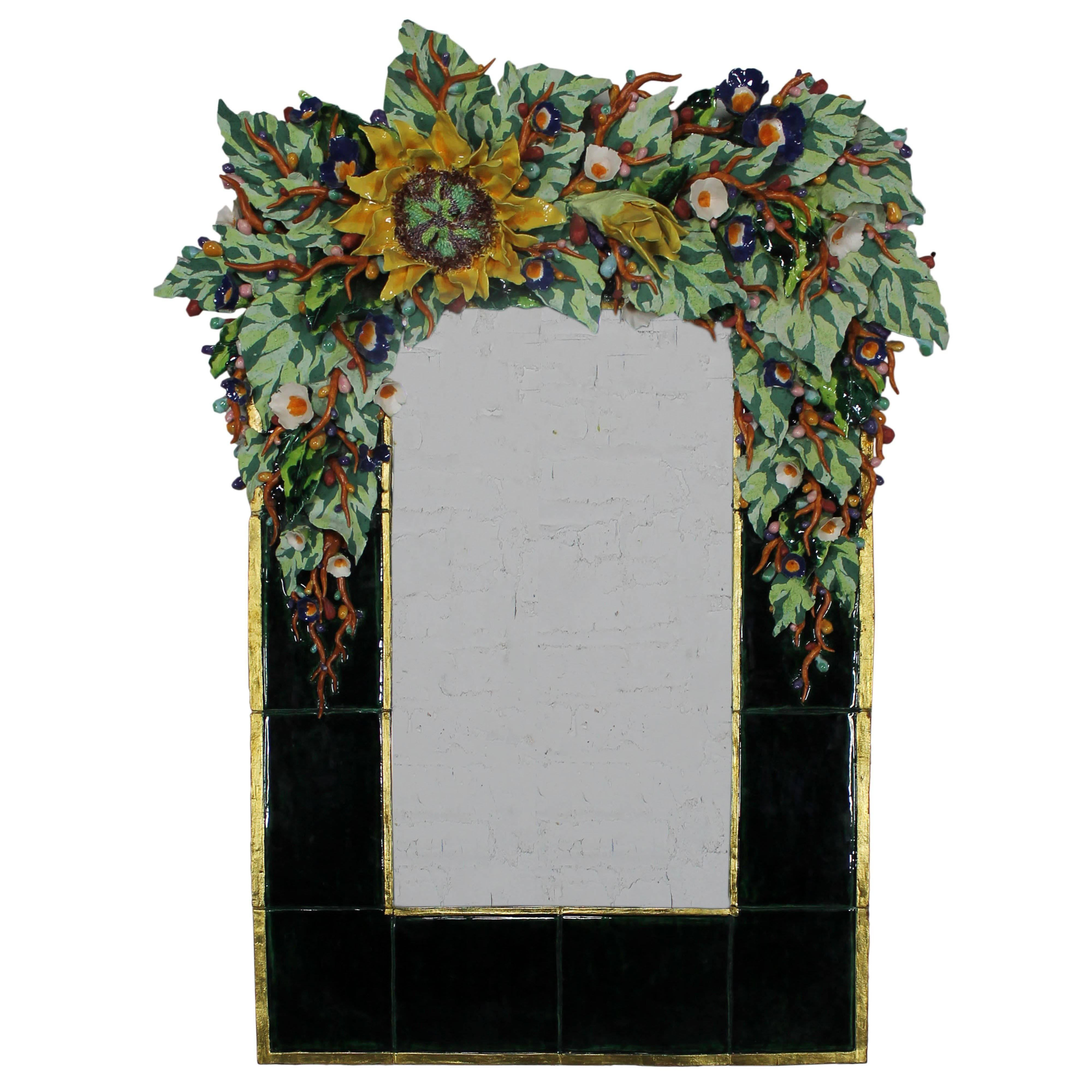 Mirror Inc Topeka Ks Large Contemporary George Alexander Floral Ceramic Mirror
