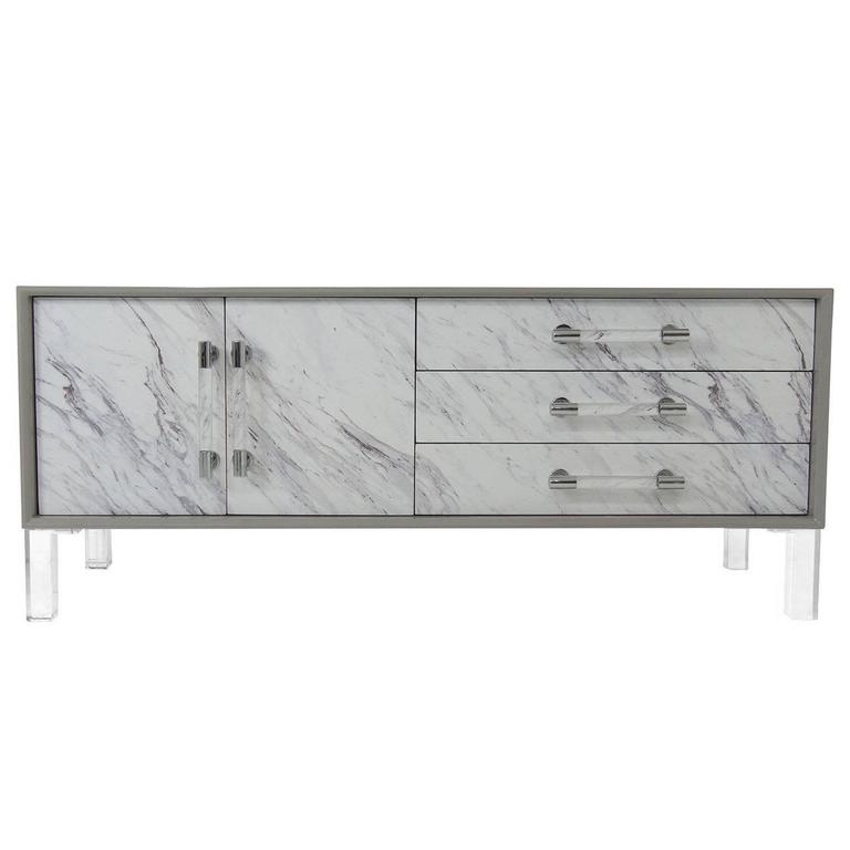 Sideboard Amalfi Greystone Lacquered Credenza With Carrara Marble Detail