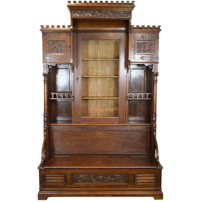 Gothic Revival Bookcase With Bench And Storage Circa 1875