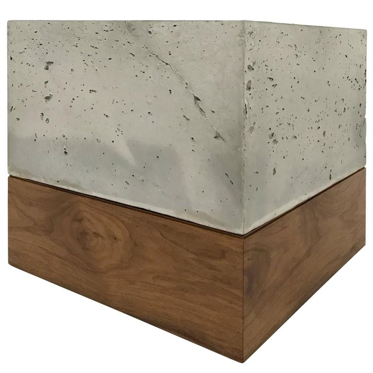 Modern Cast Concrete And Solid Walnut Quotplanter Boxquot For