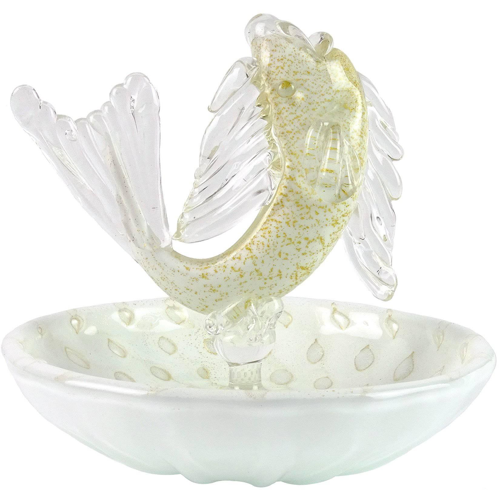 Decorative Glass Bowls Murano White Gold Flecks Italian Art Glass Fish Decorative Ring Dish Bowl
