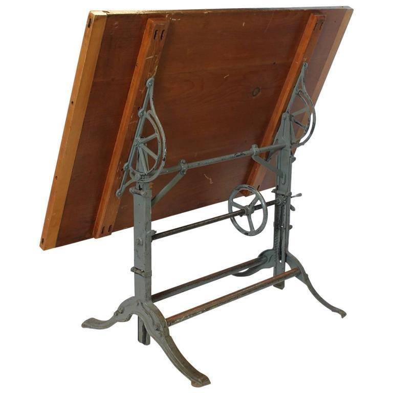 Adjustable Height Drafting Table 1930s American Architect Drafting Table