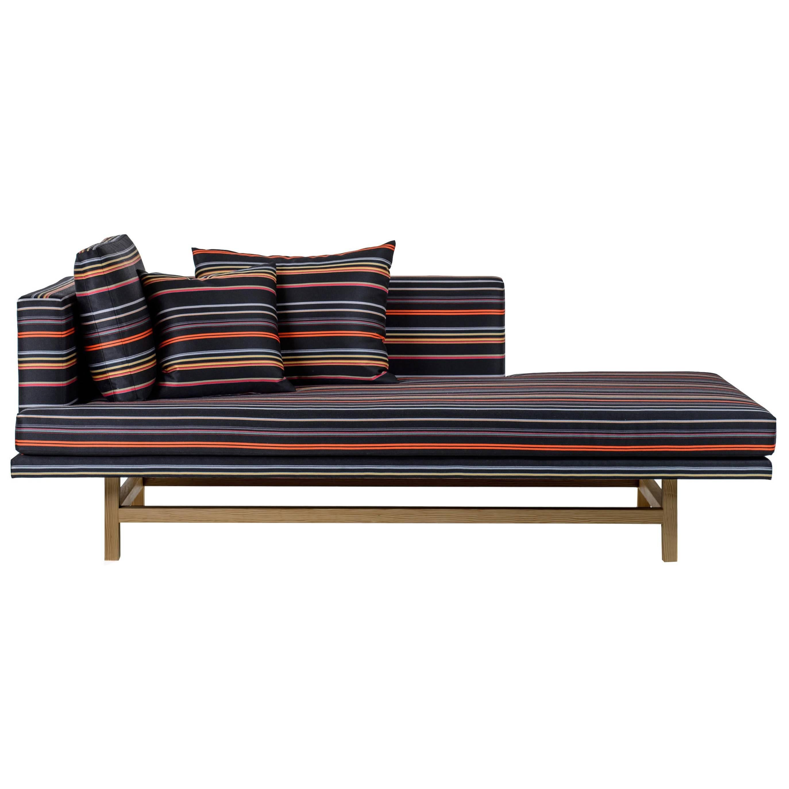 Furniture Chaise Aragon Chaise Lounge With White Oak Legs And Striped Wool