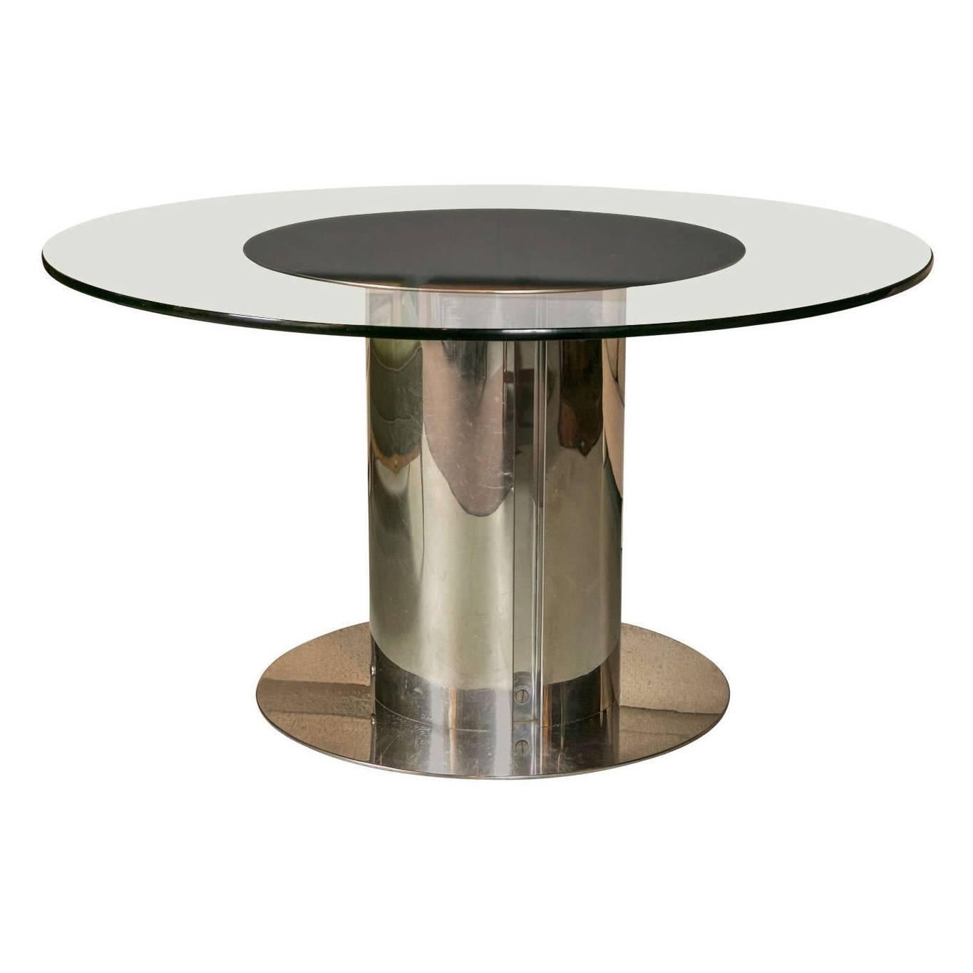 1980s Chrome And Glass Round Dining Table For Sale At 1stdibs