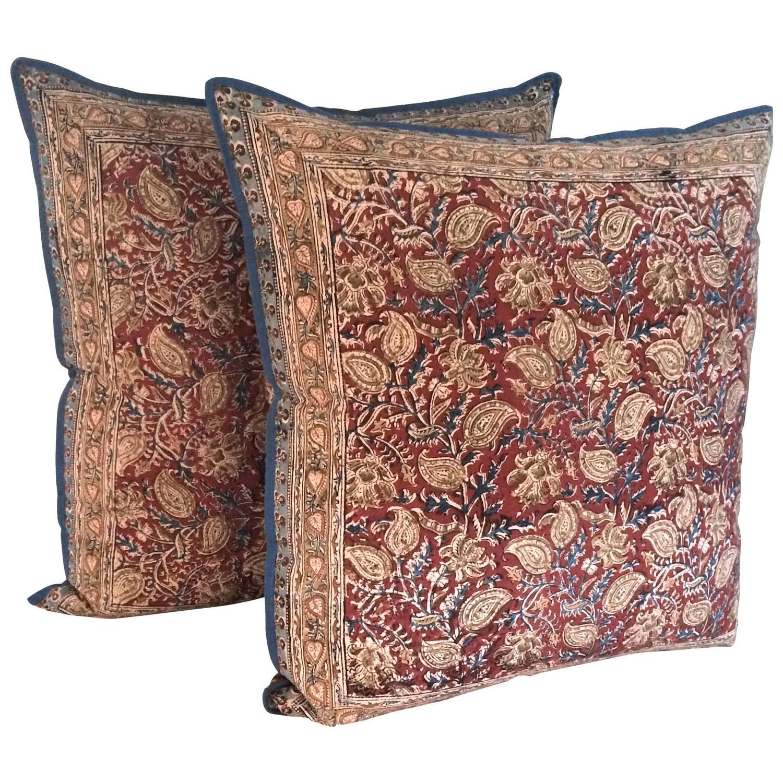 Pair Of Indian Batik Pillows At 1stdibs