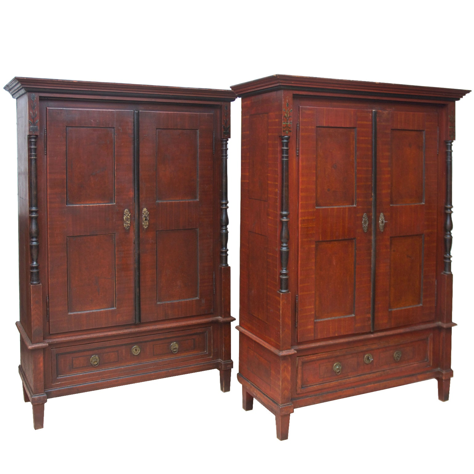 Armoire Bois Antique Pair Of 19th Century Austrian Armoires With Painted Faux Bois Finish