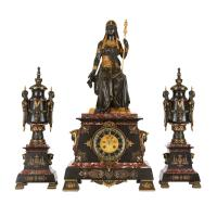 Egyptian Revival Marble, Gilt and Patinated Bronze Three ...