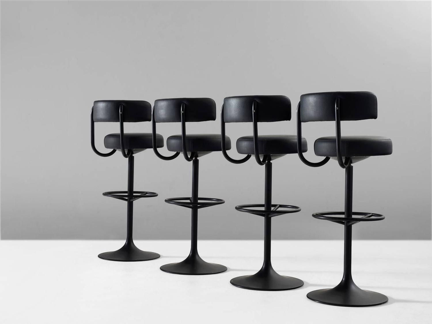 Swedish Bar Stools Set Of Four Black Swedish Bar Stools For Sale At 1stdibs