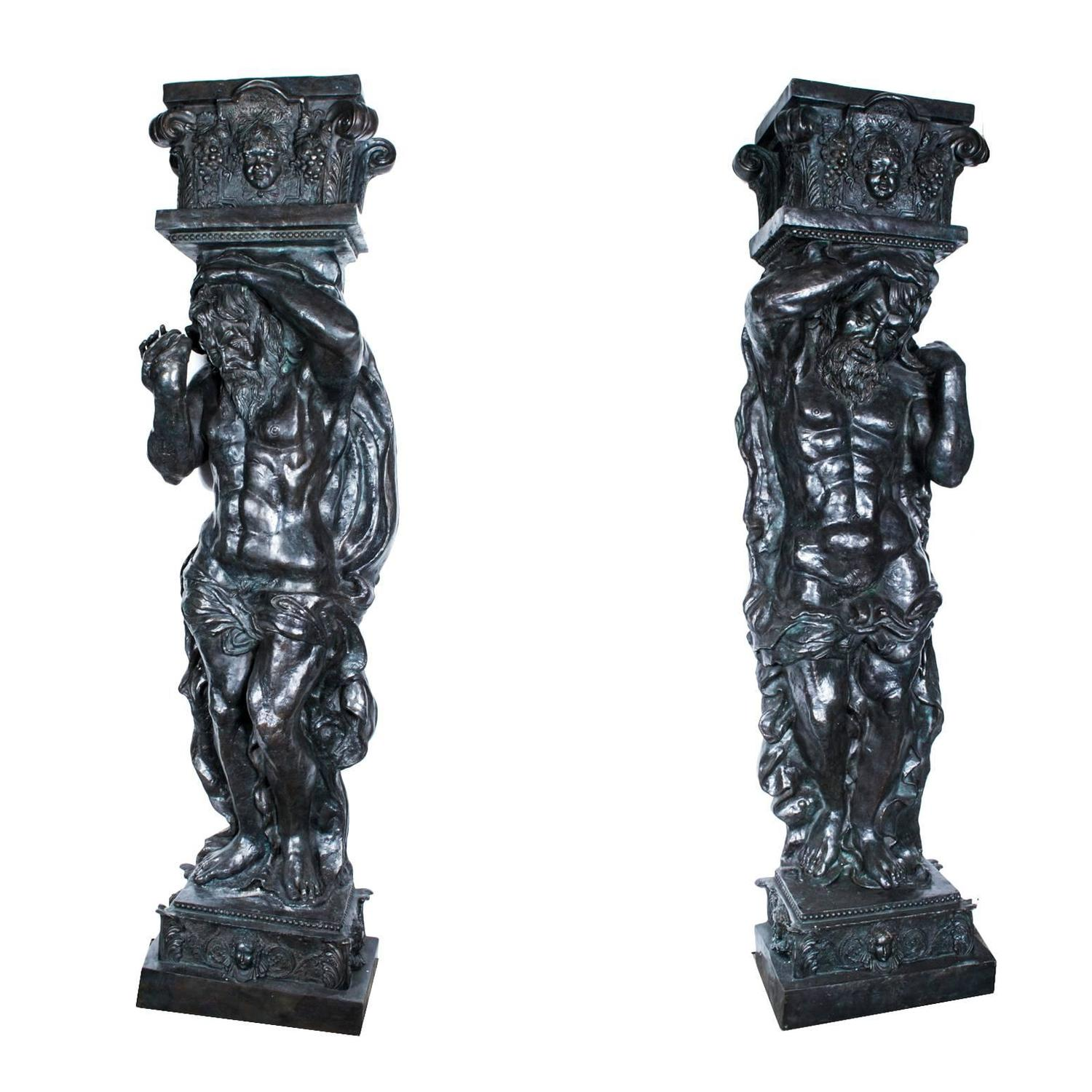 Atlas Statues For Sale Monumental Pair Of Patinated Bronze Atlas Columns For Sale