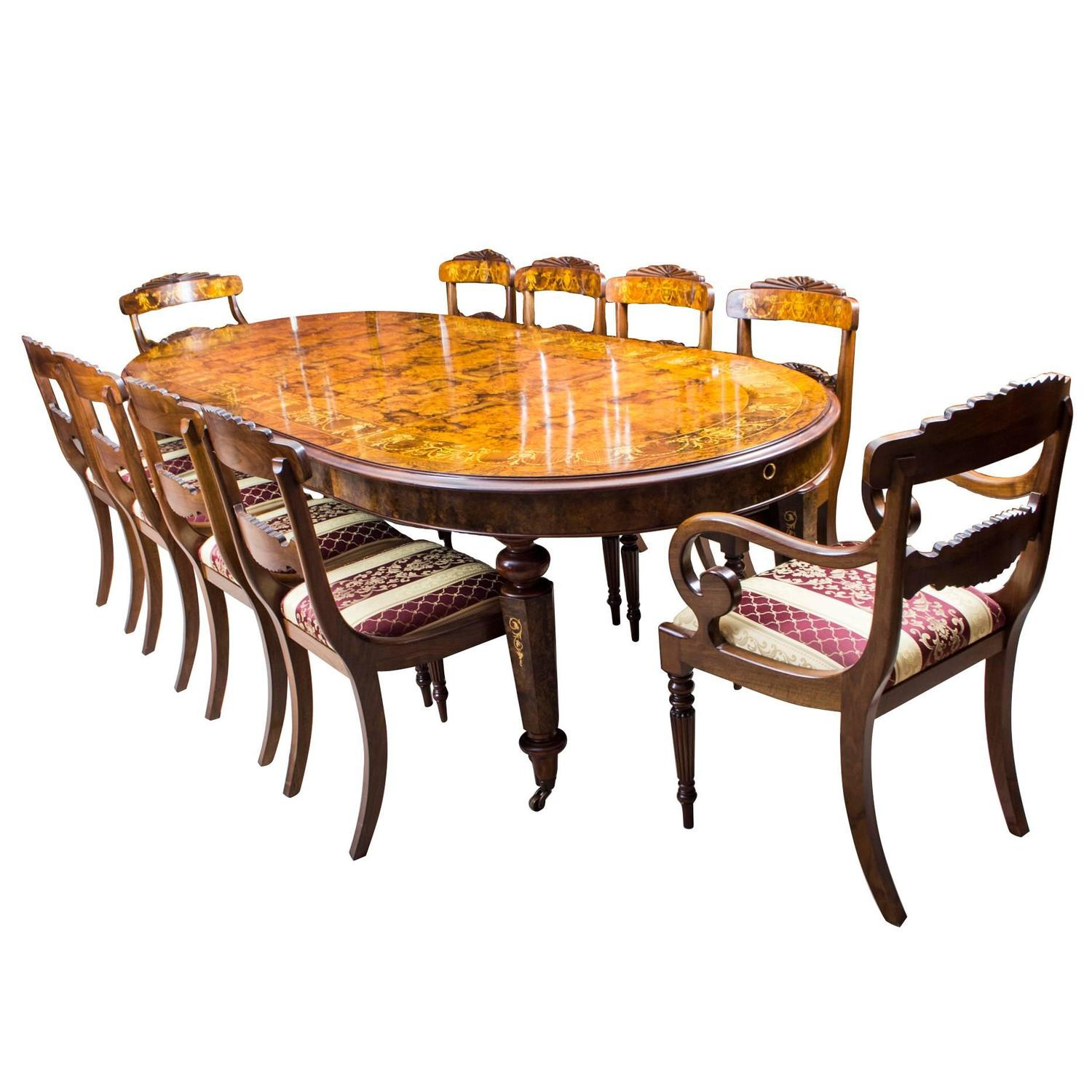 10 Seat Dining Table Set Stunning Bespoke Handmade Burr Walnut Marquetry Dining Table 10 Chairs