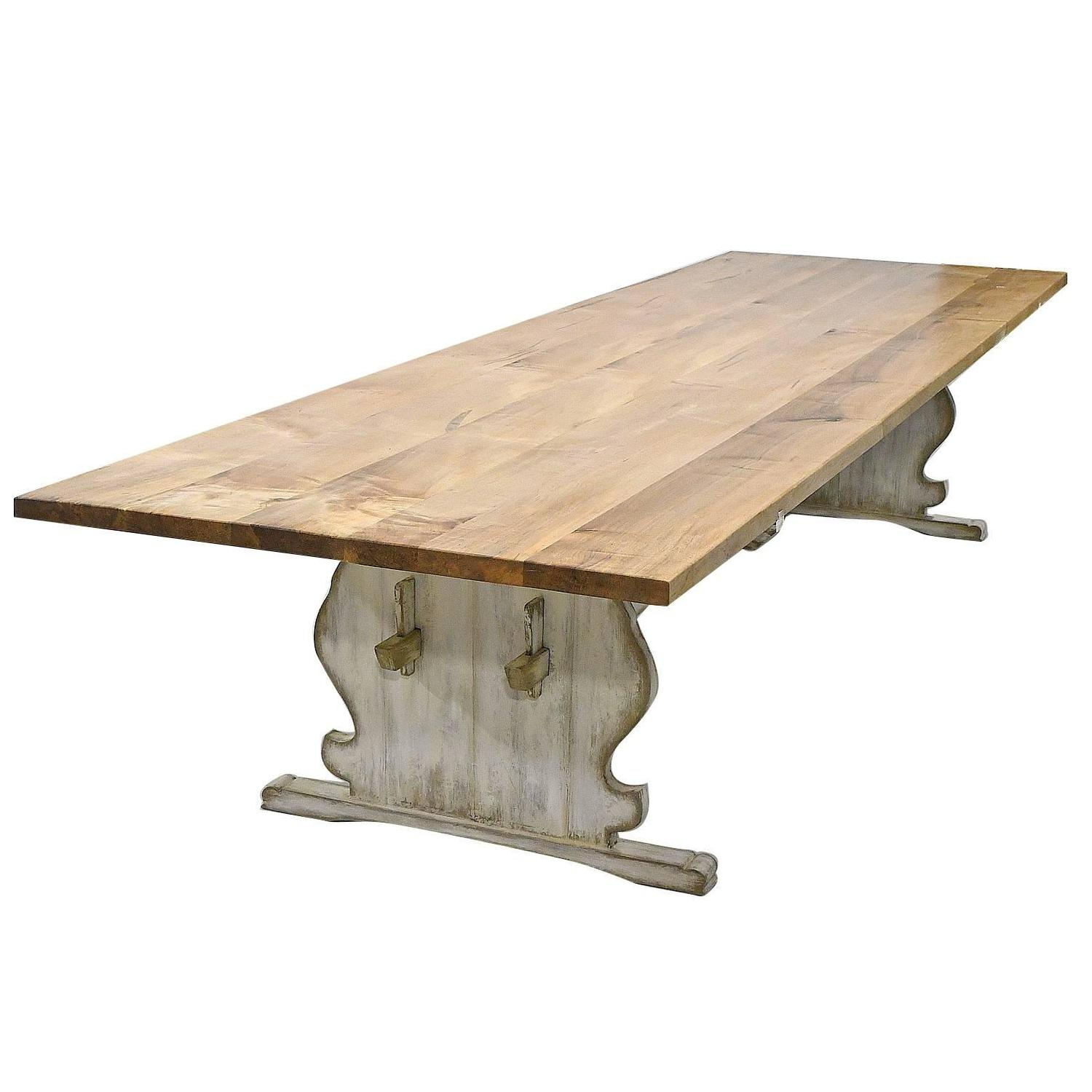 Long Dining Table For Sale 12 39 Long Gustavian Dining Table With Painted Trestle Base