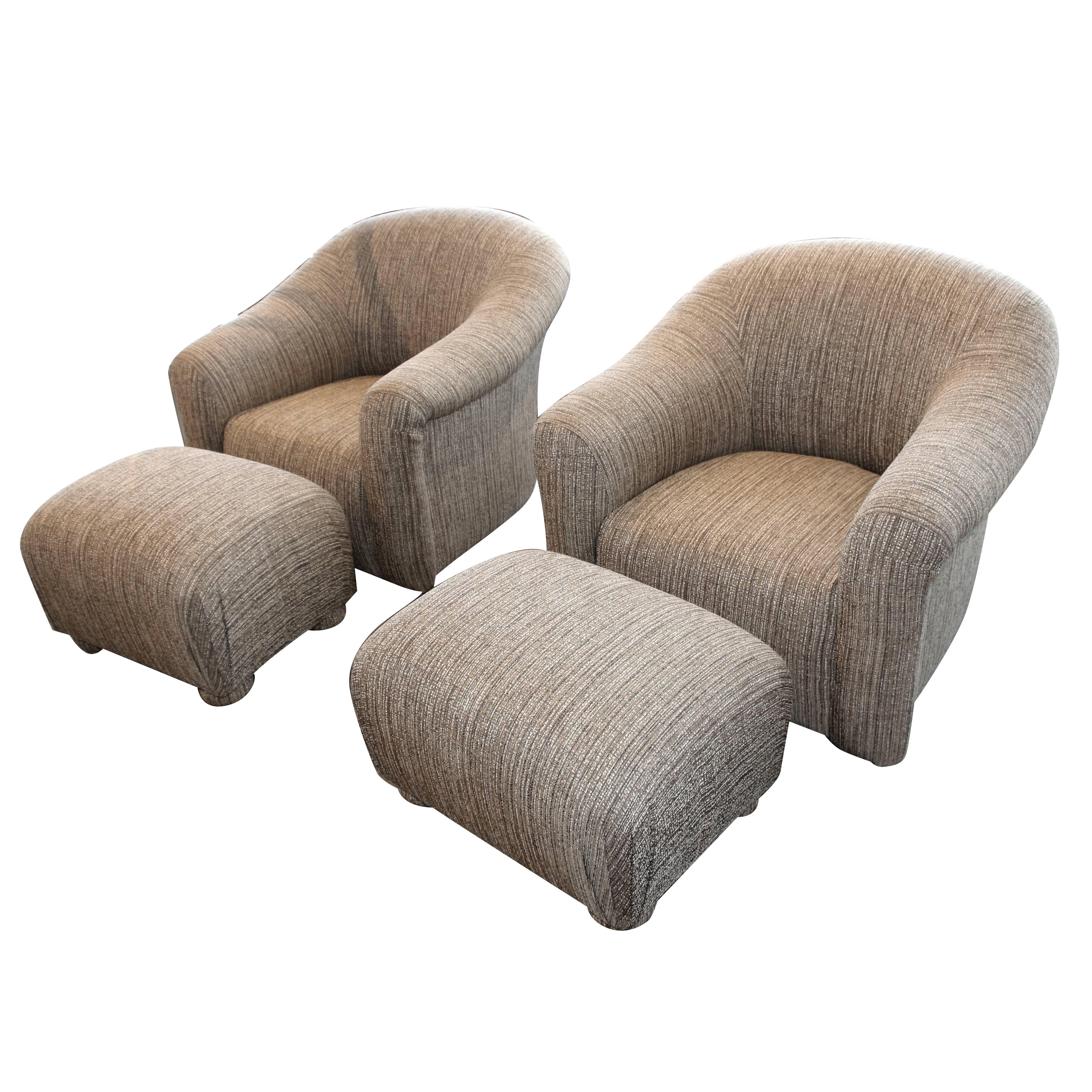 Chairs Comfortable Pair Of Comfortable Swivel A Rudin Chairs And Matching Ottomans