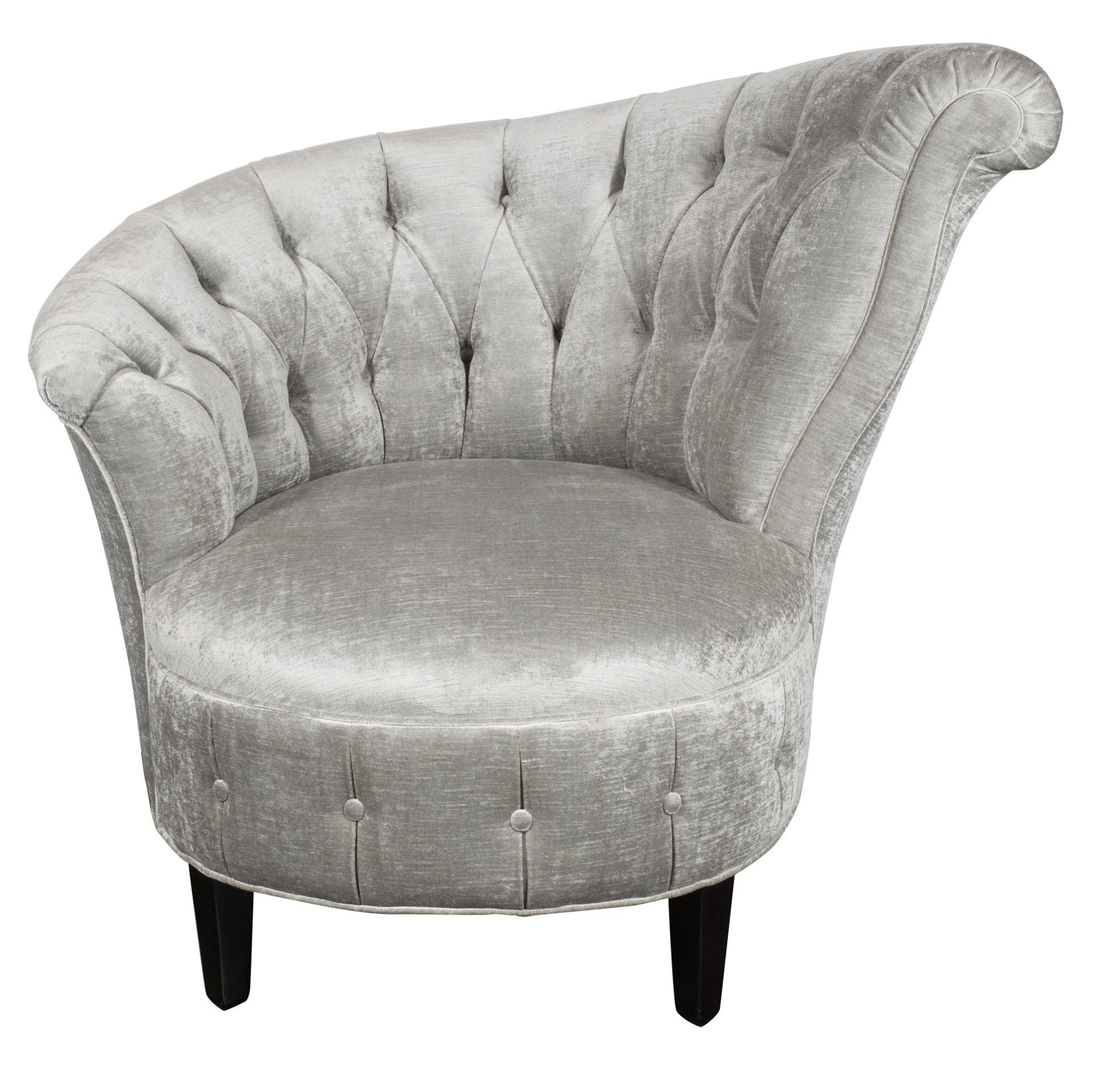Hollywood Sessel 1940s Hollywood Regency Asymmetrical Tufted Chair In Platinum Velvet
