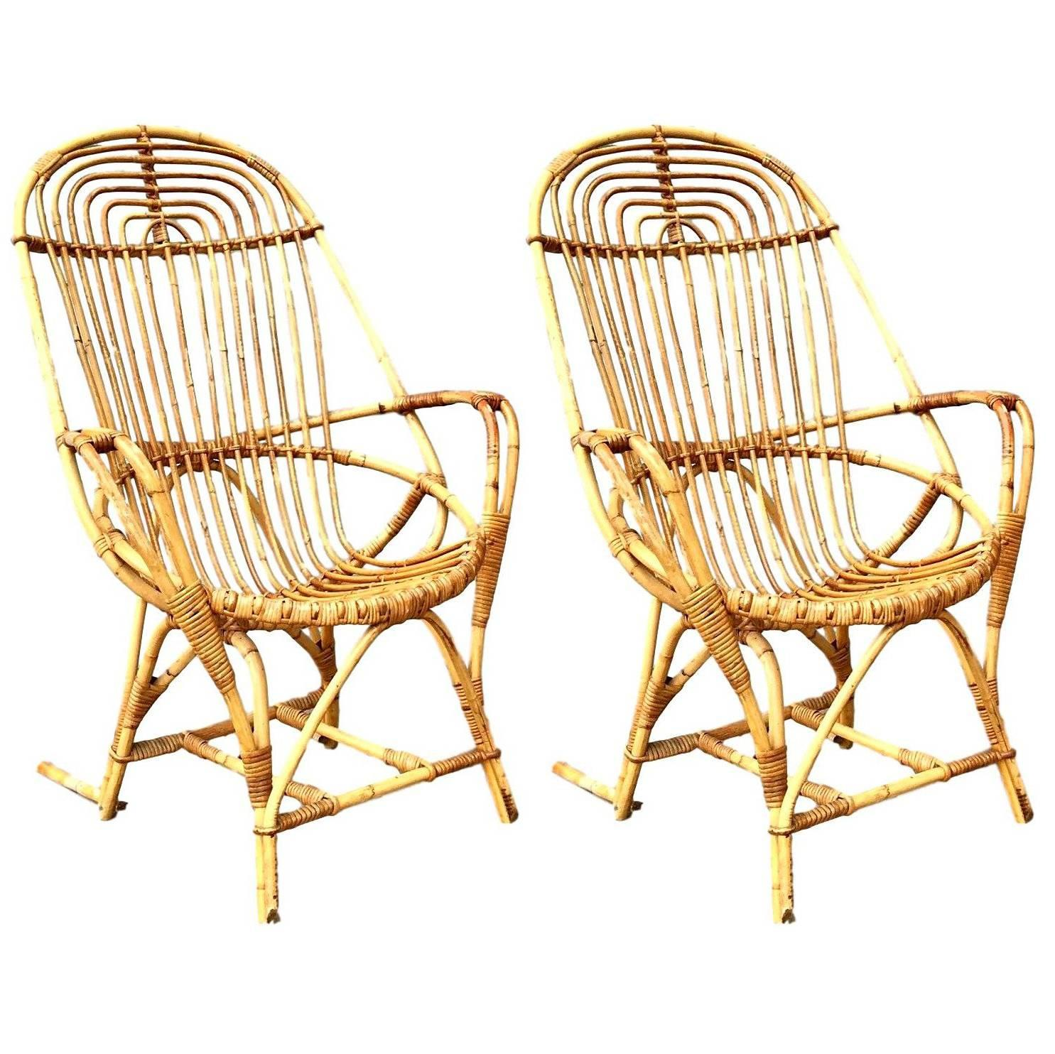 Rattan Chairs Pair Of French Sculptural Rattan Chairs