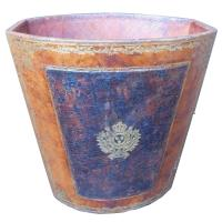 Vintage French Waste Paper Basket leather with Gold ...