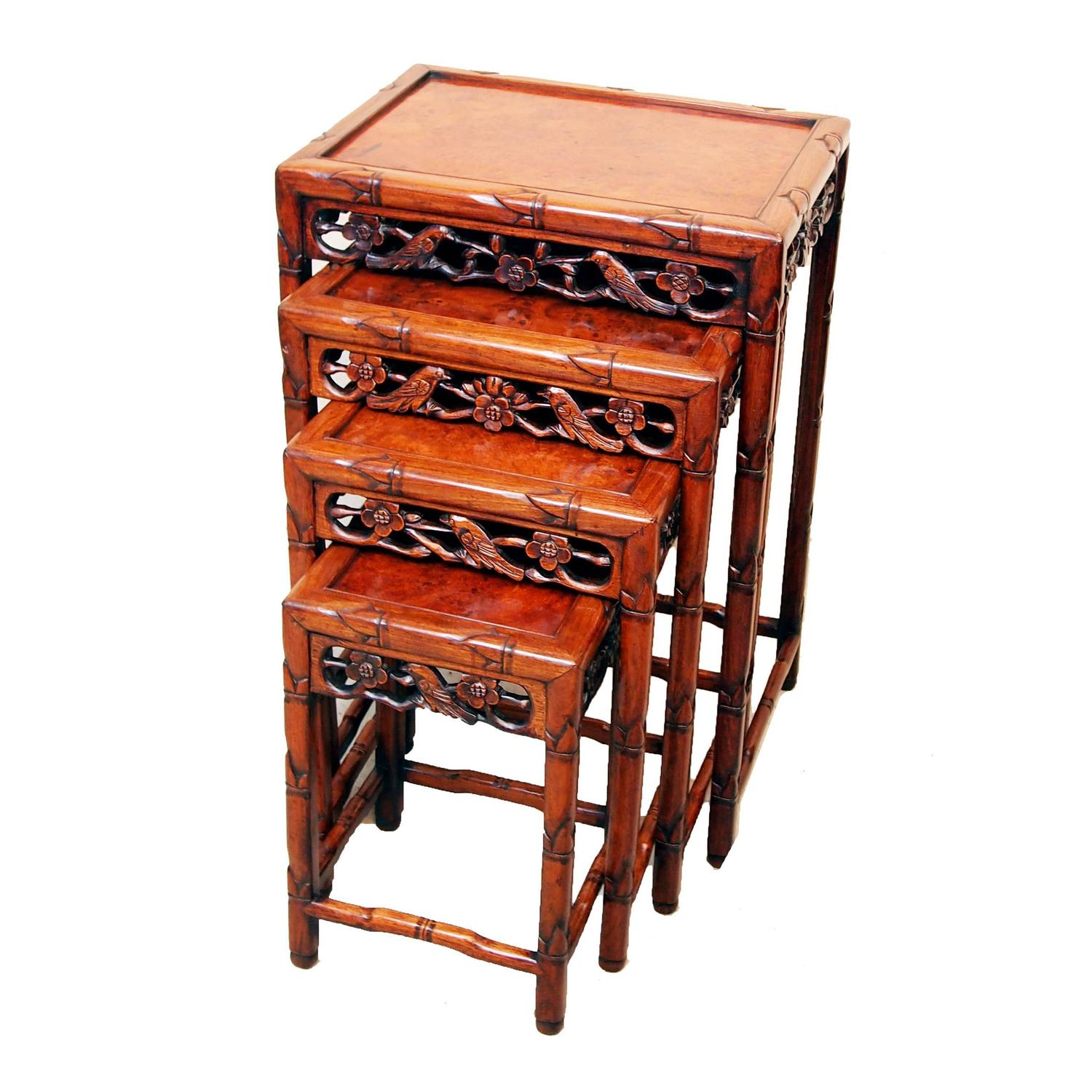 Asian Nesting Tables Antique Oriental Hardwood Nest Of Tables At 1stdibs