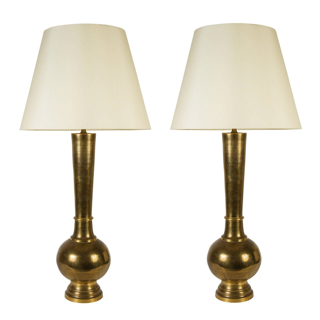 Large Lamps For Sale Large Etched Brass Table Lamps At 1stdibs
