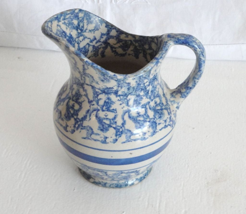 Water Pitcher Ceramic 19thc Sponeware Pottery Water Pitcher From Pennsylvania At