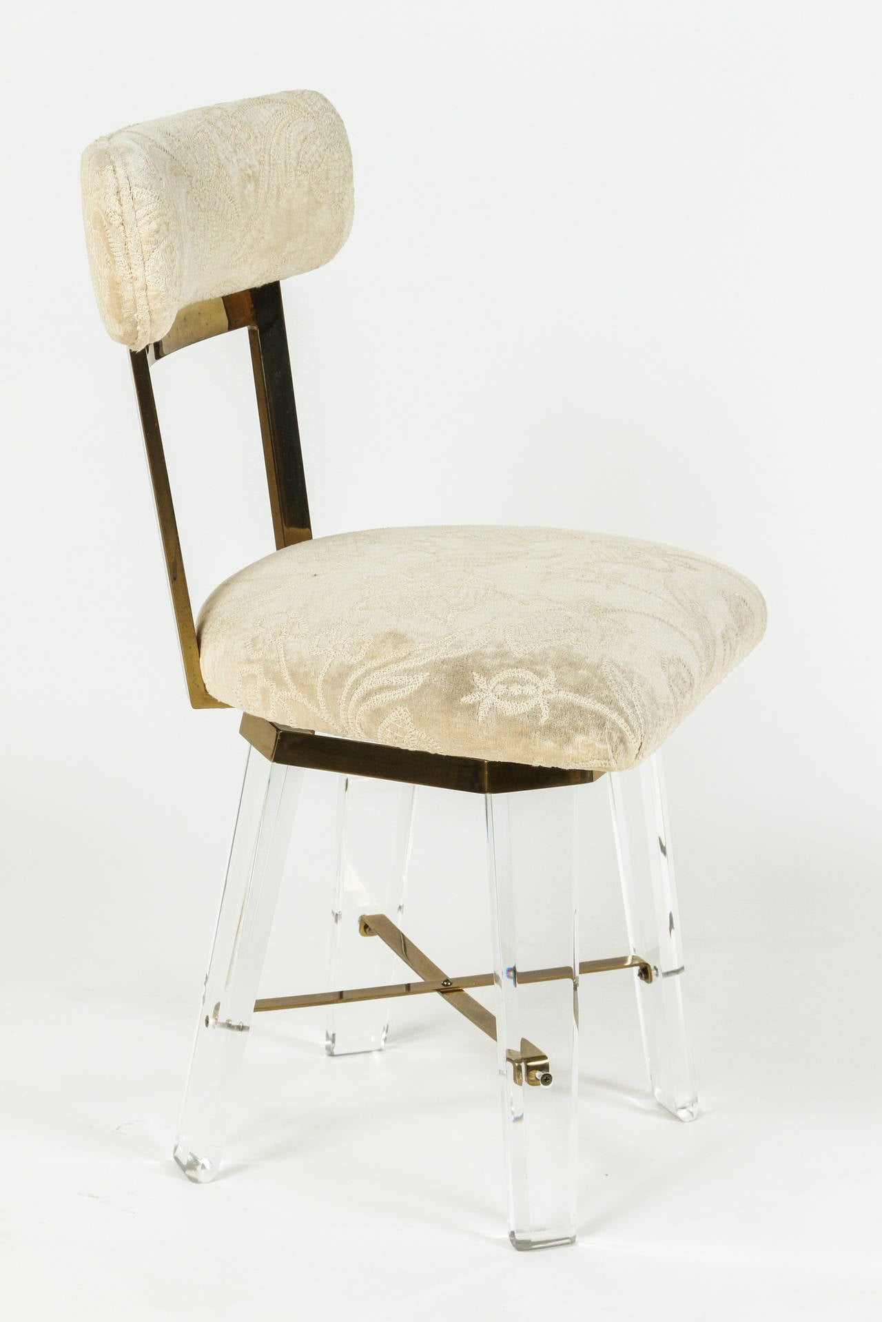 Fancy Swivel Chairs Elegant Lucite And Brass Swiveling Vanity Chair At 1stdibs