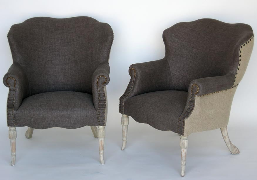 Custom Grey Linen And Burlap Club Chair At 1stdibs