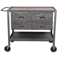 Industrial Metal Rolling Cart with Oak Top at 1stdibs