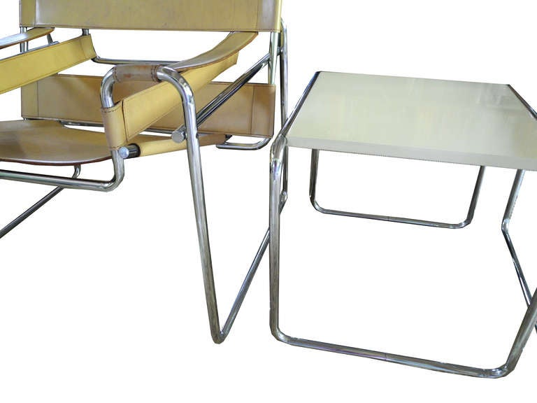 Pair Of Vintage Marcel Breuer Chairs And Table For Cassina