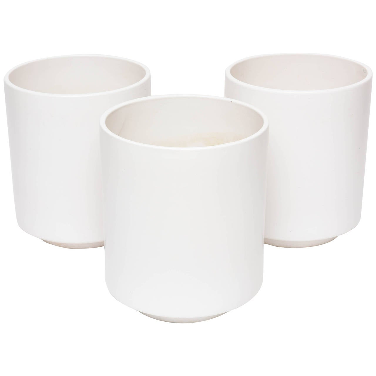 Small White Ceramic Planters Three Large Scale Matte White Planters By Gainey Ceramic
