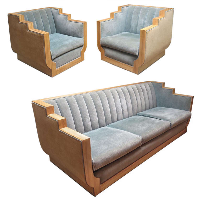 Art Deco Style Sofas Art Deco Style Sofa Set In Two-toned Mohair At 1stdibs