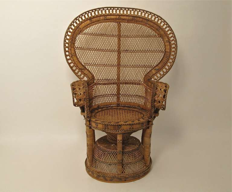 Antique Wicker And Rattan Peacock Fan Chair At 1stdibs