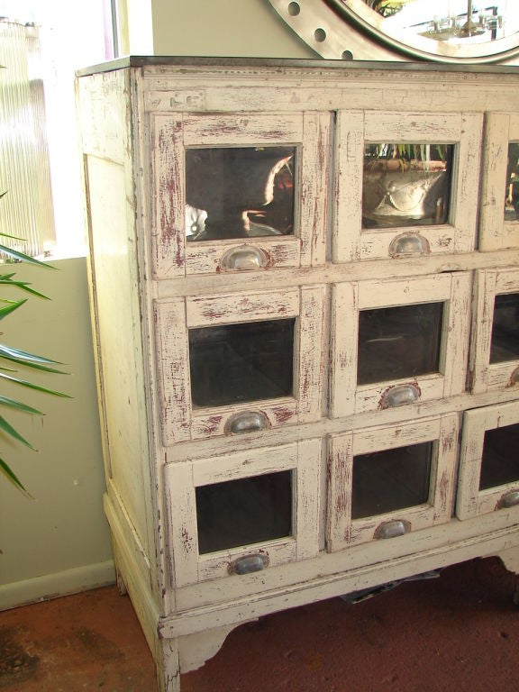 Pickled Cabinets Large Emporium Cabinet With 18 Glass Front Drawers At 1stdibs