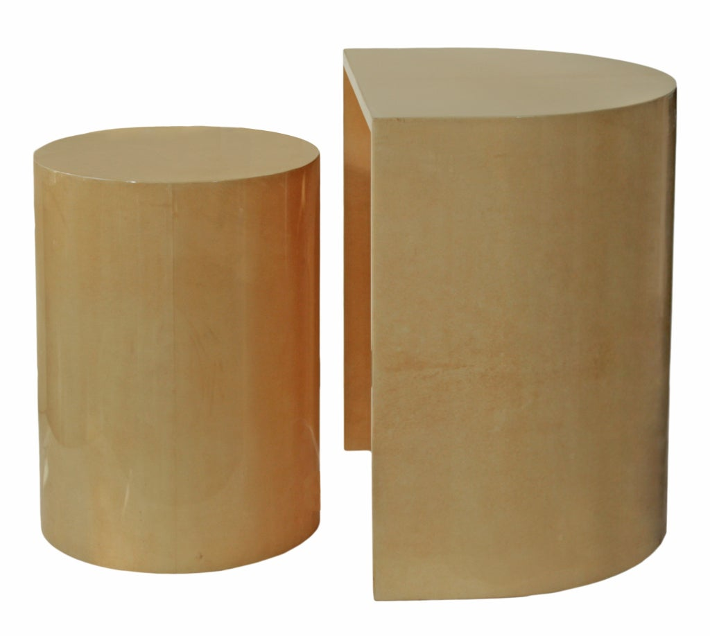 Geometric parchment nesting tables by aldo tura at 1stdibs