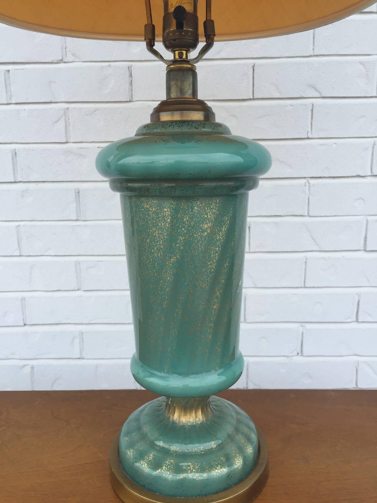 Paul Hansen Aqua and Gold Fleck Murano Table Lamp For Sale