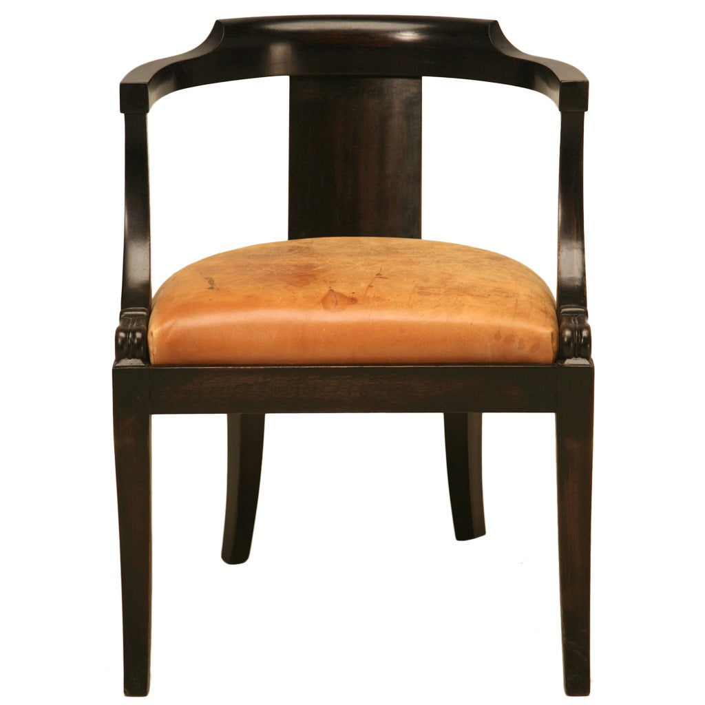 Desk Seat French Ebonized Mahogany Antique Desk Chair With A Leather Seat Cushion