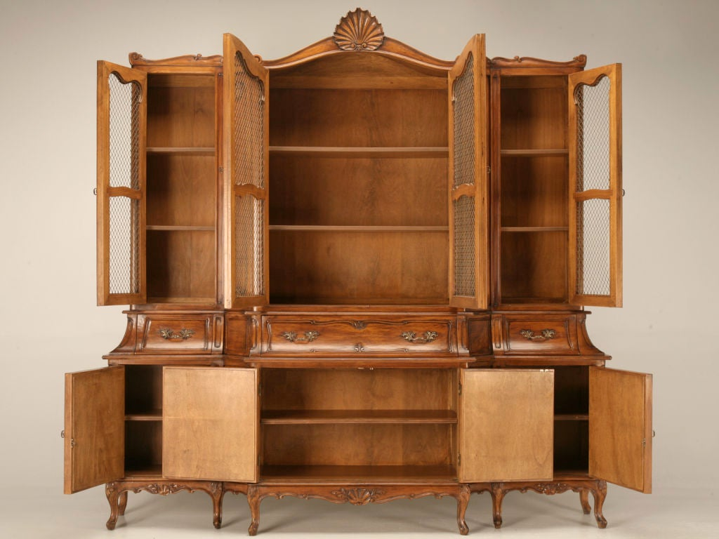 Vintage American Fruitwood Breakfront China Cabinet