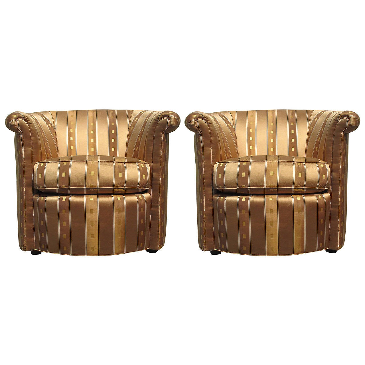 Fancy Swivel Chairs Elegant Pair Of Barrel Chairs At 1stdibs