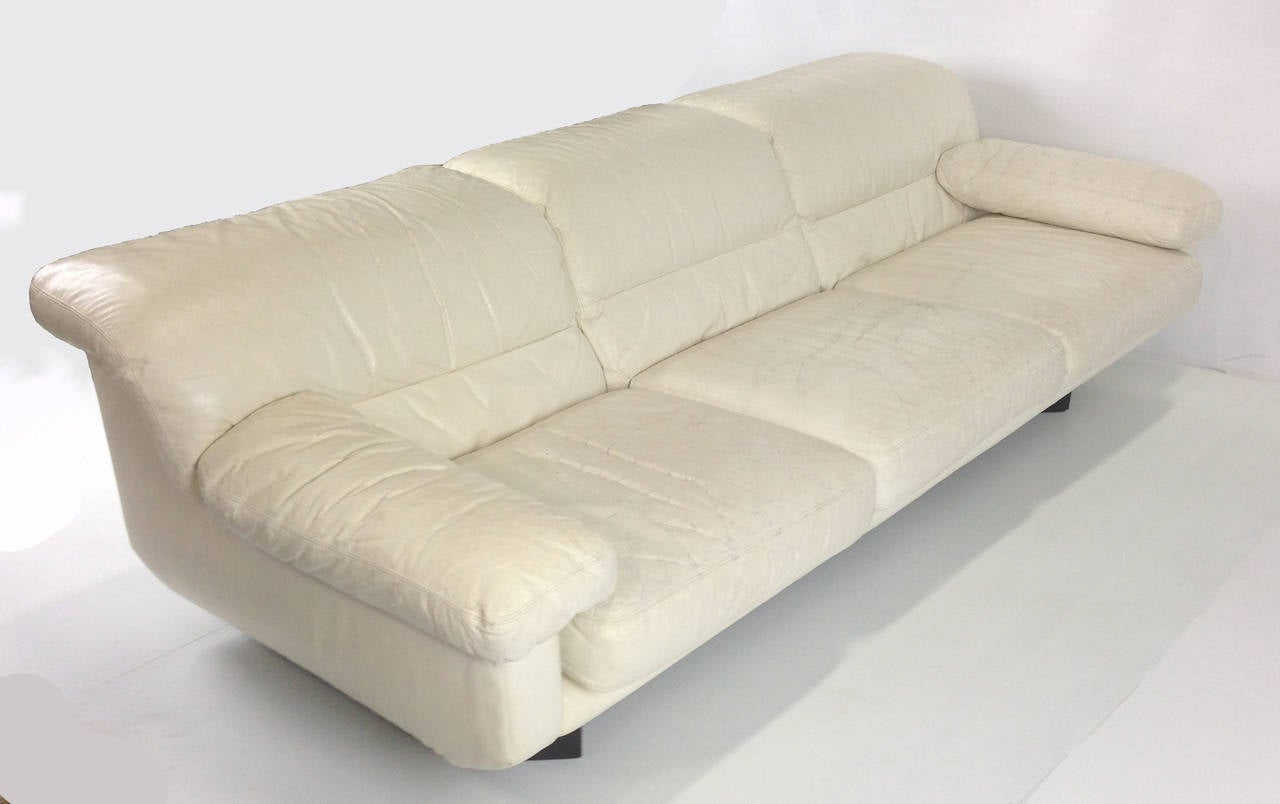 Sleek Leather Couch Pair Of Sleek 80 39s Italian White Leather Sofas By Marco