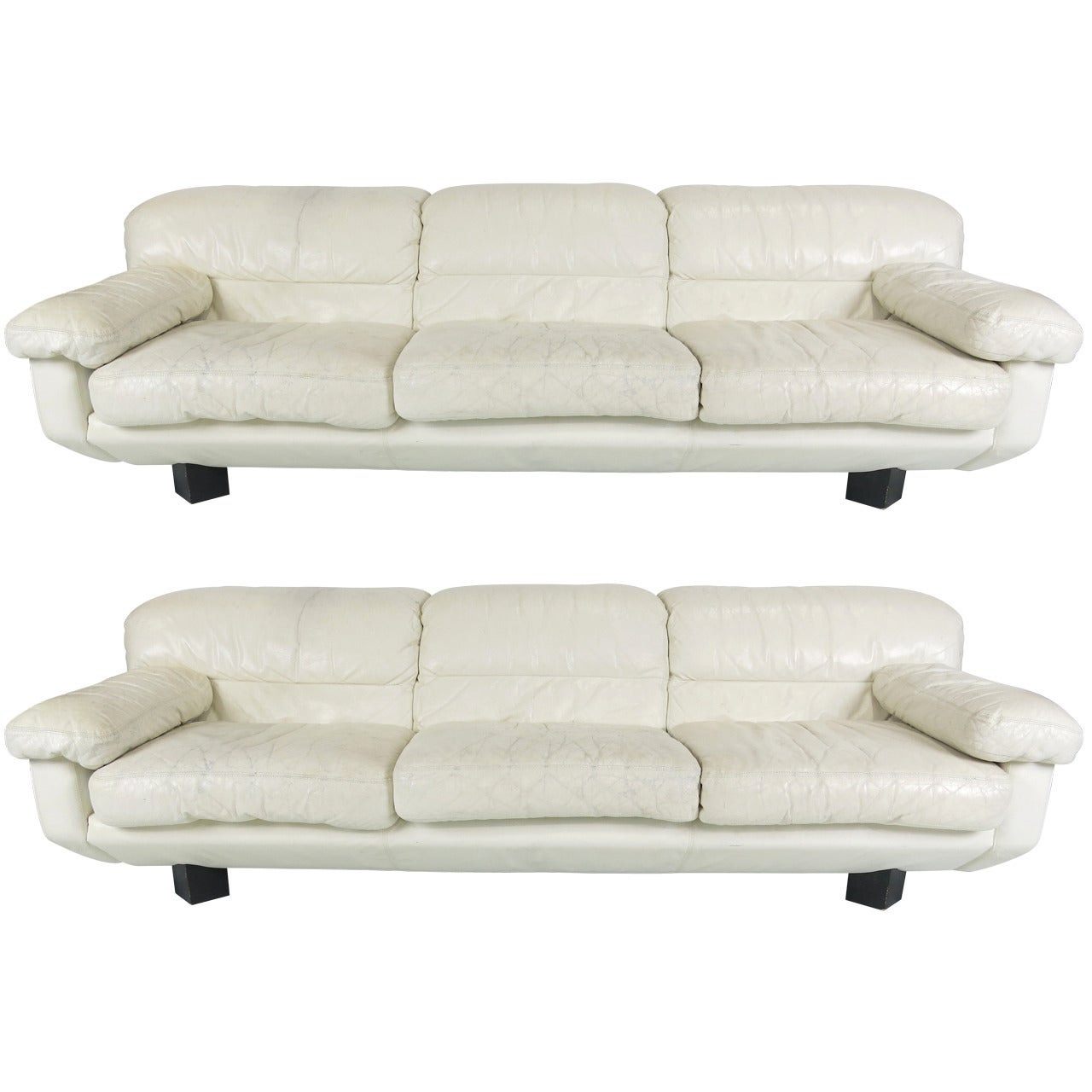 White Leather Couch Pair Of Sleek 80 S Italian White Leather Sofas By Marco Zani