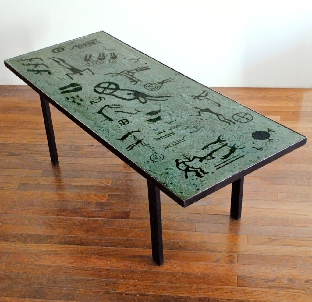 Animal Base Coffee Tables Mid Century Enamal Metal Coffee Table With Cave Painting