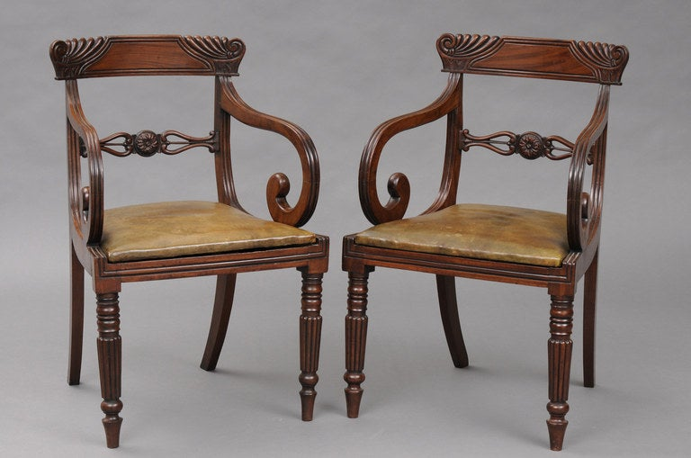 Pair English Regency Scroll Armchairs At 1stdibs