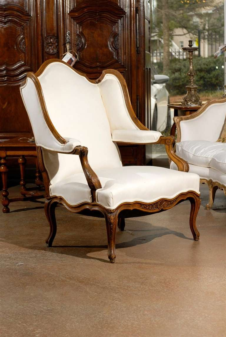 Pair Of Louis Xv Period French Walnut Confessional Bergère Chairs Circa 1750 At 1stdibs