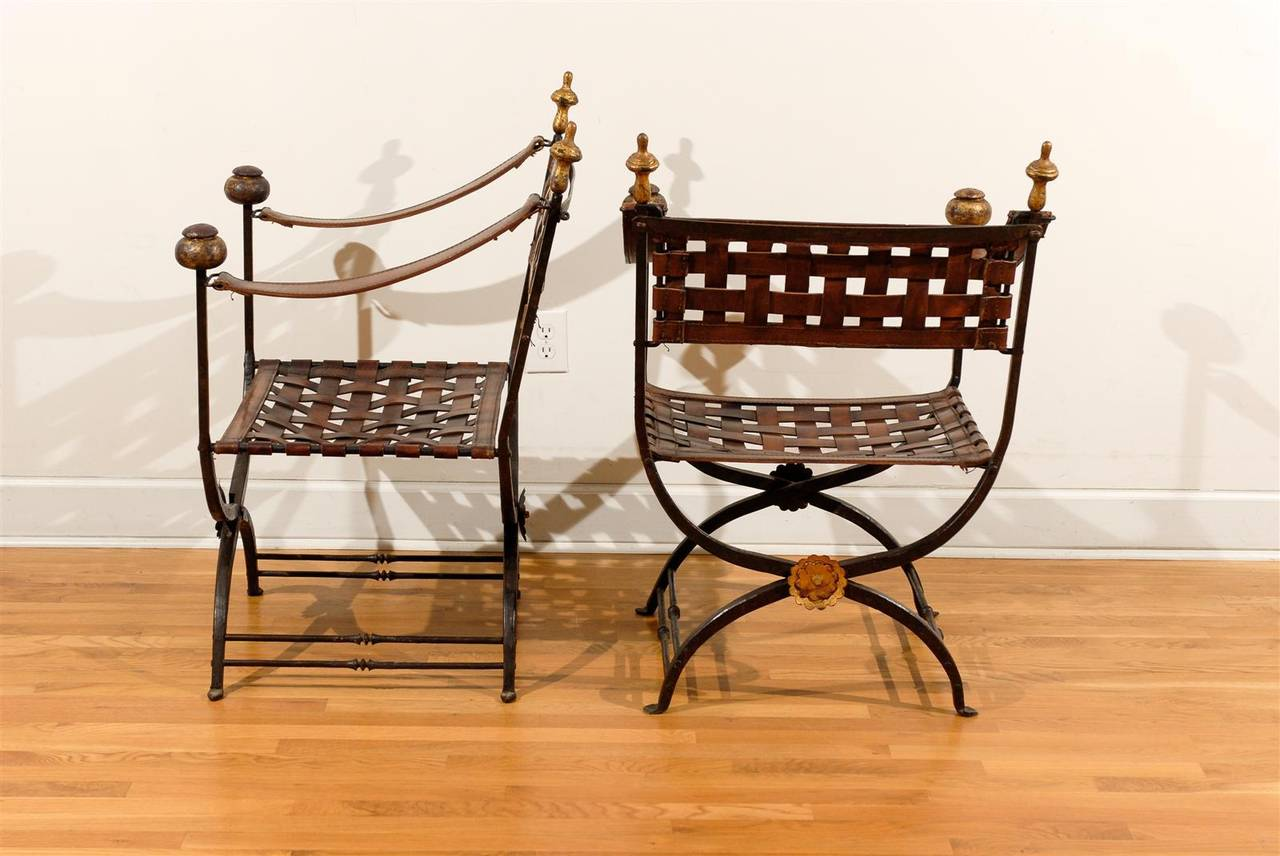 Pair Of Italian Campaign Savonarola Chairs With Woven