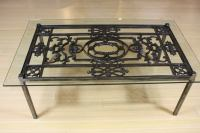 French Wrought Iron and Glass Top Coffee Table For Sale at ...