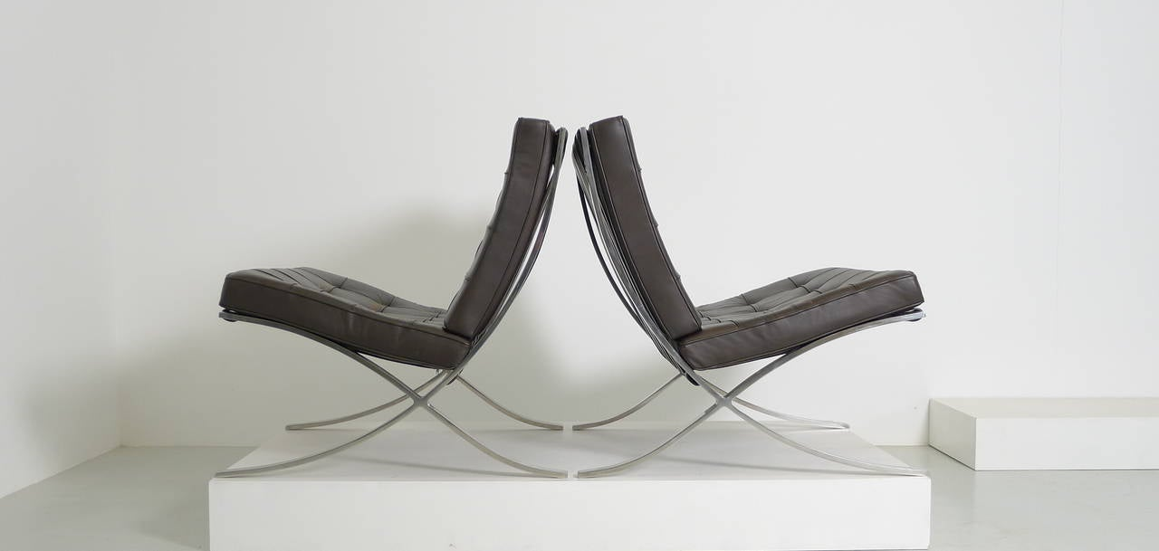 Mies Van Der Rohe Pair Of Barcelona Chairs At 1stdibs