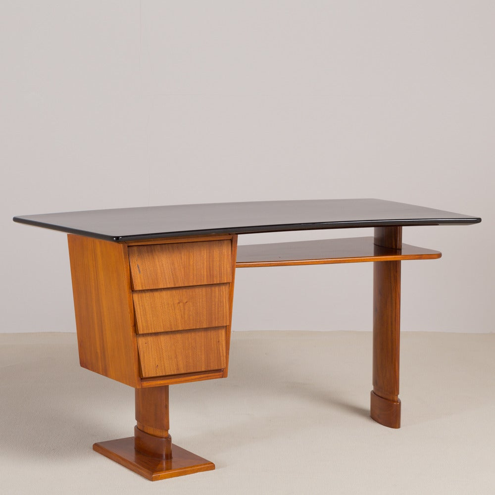 Unusual Desk Unusual Italian Walnut And Jet Black Lacquered Desk 1950s