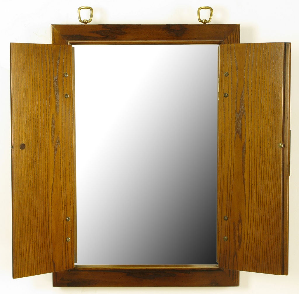 Asian Style Wall Mirrors Burled Walnut And Ash Two Door Enclosed Mirror At 1stdibs