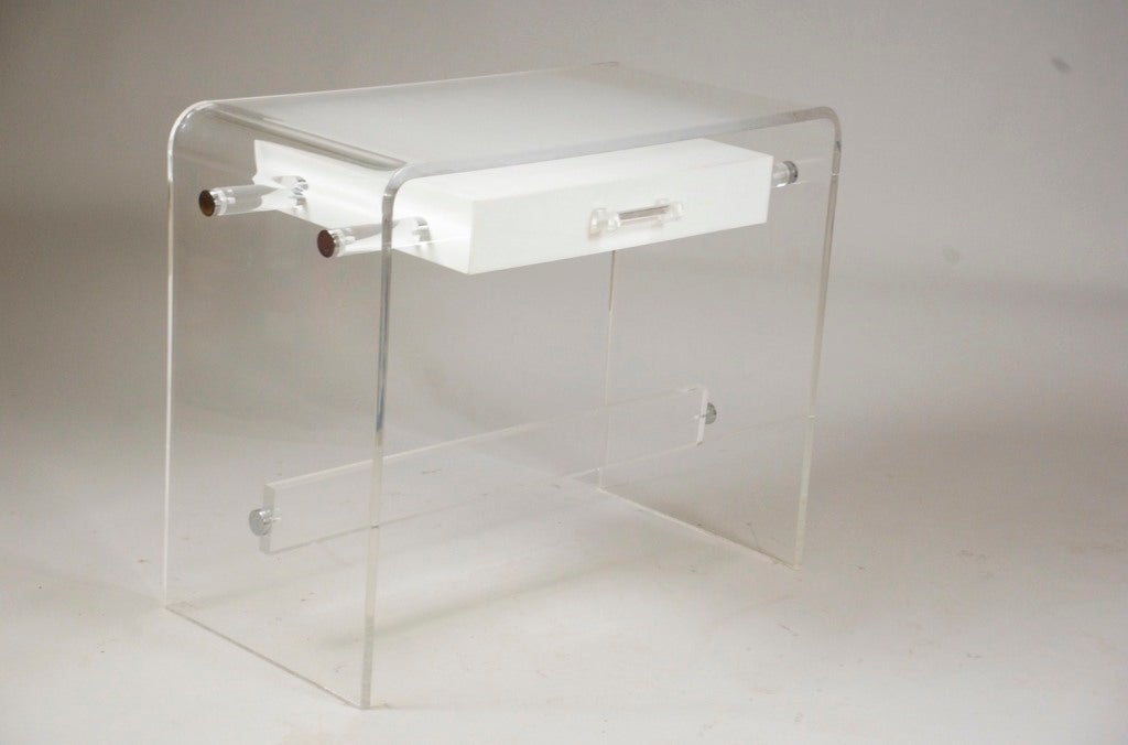 Clear Frosted And White Lucite Desk At 1stdibs