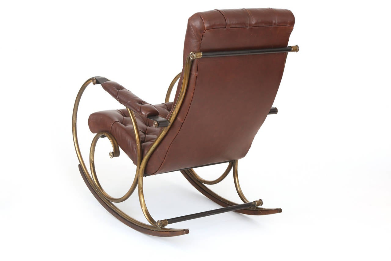 Leather brass and wood rocking chair by woodard for sale